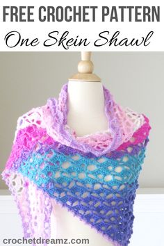 Crochet Shawl Pattern for Spring, Takes Just 1 Skein - Crochet Dreamz Crochet Lacy Scarf, One Skein Crochet, Crochet Triangle, Quick Crochet, Crochet Shawls And Wraps, All Free Crochet, Crochet Scarves, Crochet Vests, Crochet Cape