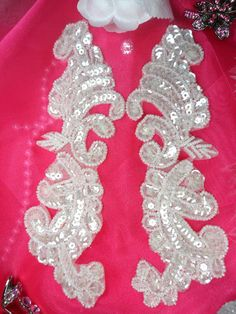 "0422 Crystal Mirror Pair Beaded Sequin Appliques 7.75""  SEWING CRAFTS MOTIF :)"