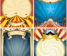 Free set of vector circus frame posters сolorful with stars, stripes, places for lettering and others circus elements.EPS or . Vintage Circus Party, Circus Carnival Party, Circus Art, Carnival Themes, Vintage Carnival, Carnival Birthday, Circus Theme, Party Themes, Vintage Circus Posters