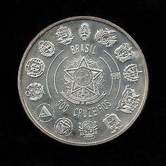 Moeda brasileira de prata comemorativa do V centenário do descobrimento da América. 500 Cruzeiros. 1