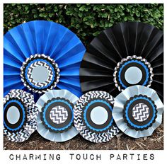 Set of 6 custom blue and black chevron by CharmingTouchParties, $27.50