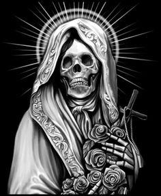 This Pin was discovered by Skull Tastic. Chicano Art Tattoos, Gangster Tattoos, Skull Tattoos, Arte Cholo, Cholo Art, Skull Tattoo Design, Tattoo Design Drawings, La Santa Muerte Tattoo, Arte Lowrider