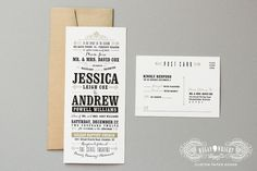 Jessica + Andrew | Black and gold typographic vintage movie ticket custom wedding invitation suite | Megan Wright Design Co.