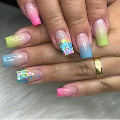 Square Nail Designs, Valentine's Day Nail Designs, Gel Uv Nails, Glitter Nails, Acrylic Nail Shapes, Acrylic Nail Designs, Summer Acrylic Nails, Spring Nails, Nail Art Printer
