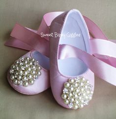 IMMEDIATE SHIP - Baby & Toddler shoes - Flower Girl Ballet Flat - Ballet Slipper - Beautiful Pearl and Rhinestone Ivory Baby Ballet Slippers