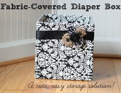 Get organized! These fabric-covered diapered boxes are super easy to make.