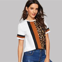 Amazing Color Block Cut-and-Sew Leopard Panel Top Short Sleeve O-Neck T-Shirt 2019 Shorts Outfits Women, Short Outfits, Leopard Print Shorts, Leopard Top, Shirt Bluse, Cut Shirts, Casual T Shirts, Women Swimsuits, T Shirts For Women