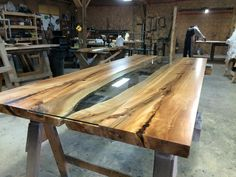Live Edge Harvest Table with glass insert. Tree Green Team Collingwood Ontario