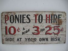 horse rides sign sold on eBay $300