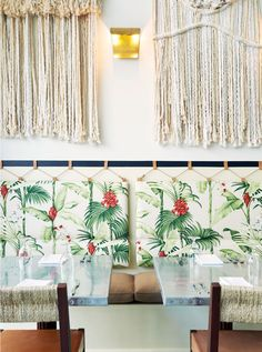 tropical print cushi