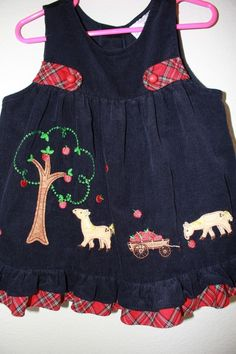 RARE EDITIONS BABY GIRL 2T NAVY BLUE CORDUROY HORSE JUMPER ~ DRESS, CUTE! | eBay