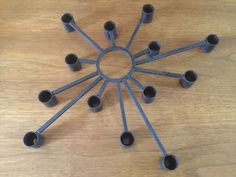 Vintage Brutalist Metal Wall Art Candle Holder Starburst Mid Century Modern