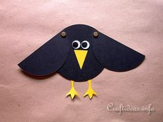 Paper Craft for Kids - Paper Crow with Movable Wings