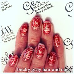 Gel II manicure Christmas nails with moyou stamping and magpie glitter