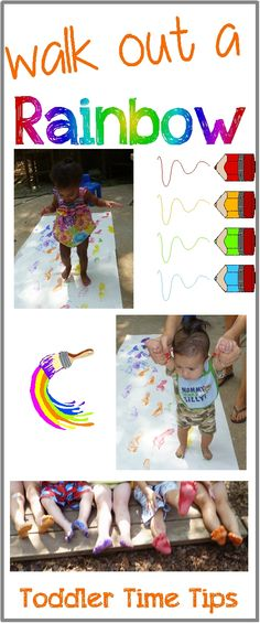 Paint a rainbow with your feet!!! Toddler Time Tips @ https://www.facebook.com/toddlertimetips