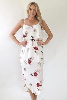 Santi Split Dress -White Rose
