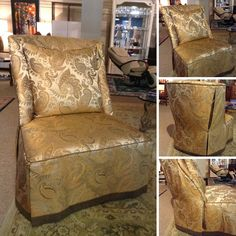 John Williams - Oversize Gold/Taupe Accent Chair - $688.95