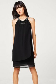 Sehr schön Esprit Collection Chiffon-Kleid mit Layer-Effekt und  Stäbchen-Dekor 16 b44e2d2f34