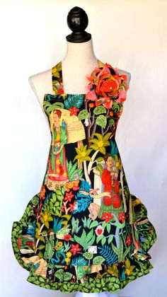 Frida Kahlo Womens Full Apron  Double Ruffled   by OliviabyDesign, $38.95 #frida kahlo #day of dead #mexican folklore