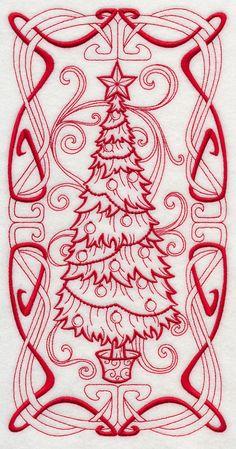 Art Nouveau Christmas Tree (Redwork)