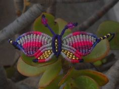 Macrame bracelet pink butterfly