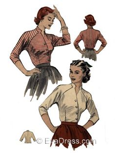 B50-6221; 1952 Keyhole Blouse 4-piece hand-drafted pattern originally by Butterick, 'A very versatile blouse for your wardrobe. The diagonal button-closing gives it a surplice line. Pert stand-up coll