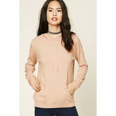 Forever21 Sweater Knit Hoodie (935 INR) ❤ liked on Polyvore featuring tops, hoodies, long sleeve hoodie, hooded sweatshirt, knit hoodies, beige hoodie and beige top