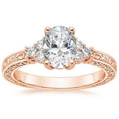 14K Rose Gold Adorned Trio Diamond Ring #BrilliantEarth #EngagementRing #Oval