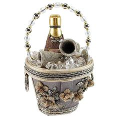 Champagne Ice Bucket, Champagne Buckets, Beaded Top, Beaded Bags, Beaded Purses, Mary Frances Handbags, Novelty Bags, Bucket Handbags, Handmade Handbags