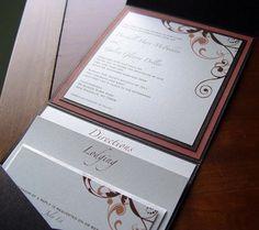 Invitations, Crescent moon paper, Stationery, Swirls, Envelopments, Pocketfolds