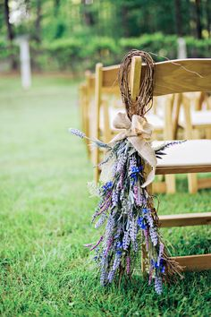 Rustic wedding ceremony chair decor, lavender, purple wildflowers, repin to your own wedding inspiration board // Studio 83 Wedding Photography