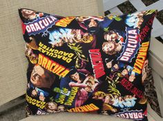 """Great Scary movie Pillow for your Halloween Celebration or Dracula movie night.  Made of high quality cotton fabric.  The pillow measures 16""""x15"""" stuffed with pillow insert which is included in purchase.  The pillow shown is the pillow you will receive."""