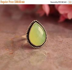 Lime green ring  Chalcedony Ring   Artisan ring drop by Studio1980