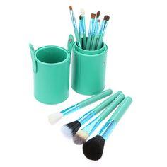 Pro 12 Pcs Powder Blush Makeup Brush Cosmetic Brushes Set Kit Cup Holder Case | eBay