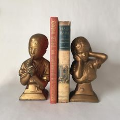 Vintage Boy and Girl Chalkware Bookends Figurines of Boy | Etsy