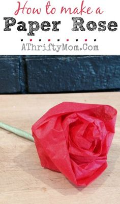 How to make a paper rose, perfect DIY craft for kids, Mothers Day flowers that can be made as a DIY project #DIY, #MothersDay, #Flowers, #Crafts