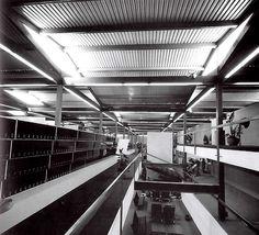 Vista interior, Centro de Prensa, Villa Olímpica, av. Insurgentes Sur, Tlalpan, México DF 1968   Arq. David Muñoz Suárez -  Interior view, Press Center, Olympic Village, Tlalpan, Mexico City 1968