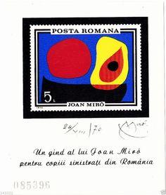 Joan Miró Block Romania 1970,catalogue Michel nr.81 (77x94mm),FREE SHIPPING!