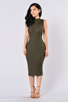 Available in Olive and Burgundy Mock Neckline Sleeveless Ribbed Viscose, Nylon Blouse Dress, Dress Skirt, Bodycon Dress, Sexy Dresses, Nice Dresses, Hot Miami Styles, Dress Out, Dope Fashion, Well Dressed
