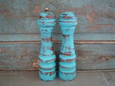 Turquoise Salt Shaker and Pepper Grinder Mill Distressed Wood $18