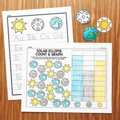 Eclipse Activities for preschool, kindergarten, and first grade! Literacy and math activities with an eclipse theme from Simply Kinder!