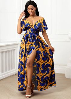 V Neck Tribal Print Front Slit Maxi Dress | Rosewe.com - USD $28.53 African Party Dresses, African Fashion Dresses, African Dress, African Formal Dress, Ankara Maxi Dress, Tribal Print Dress, African Print Fashion, African Attire, Maxi Dress With Sleeves
