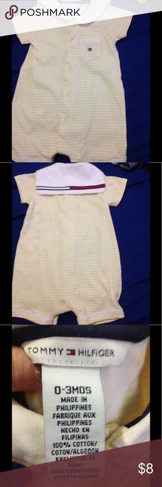 Light yellow and white stripe one piece Tommy Hilfiger baby outfit, size 0/3 months, super cute! Tommy Hilfiger One Pieces Bodysuits