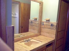When it came time to redo our bathroom floor and counter top, we turned to our tried-and-true material: wood.