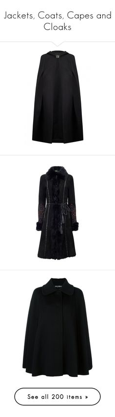 """""""Jackets, Coats, Capes and Cloaks"""" by wraithmastah ❤ liked on Polyvore featuring outerwear, wool cape poncho, wool poncho cape, wool cape, long cape coat, hooded wool cape, coats, embroidered coat, leather belt and shearling coats"""
