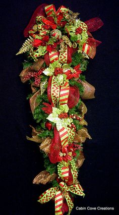 HUGE Christmas Teardrop Vertical Swag Holiday Wreath 60 in long Red Lime Green Gold OVER the TOP Design By Cabin Cove Creations
