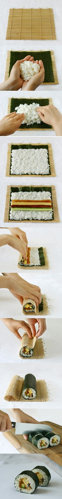 DIY - How to make sushi rolls ...You can use cauliflower 'rice' instead.
