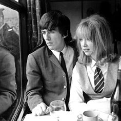 """Actress/Model Patti Boyd played a giggly schoolgirl in """"A Hard Day's Night.""""   George became infatuated immediately, and they were married in 1966.  Patti later left George for Guitarist Eric Clapton.  She bears the distinction of two iconic rock songs dedicated to her: """"Something"""" written by George, and """"Layla"""" by Eric."""