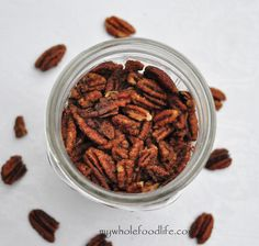 Slow Cooker Maple Glazed Pecans.  These make a great homemade gift.  Throw them on salad, on top of yogurt or just snack on them.  The salty/sweet combo is highly addicting!
