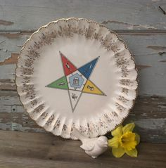 Vintage Masonic Decorative Plate  Retro Gold by happydayantiques